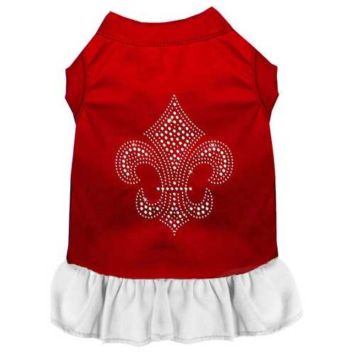 Silver Fleur de Lis Rhinestone Dress Red with White Lg (14)