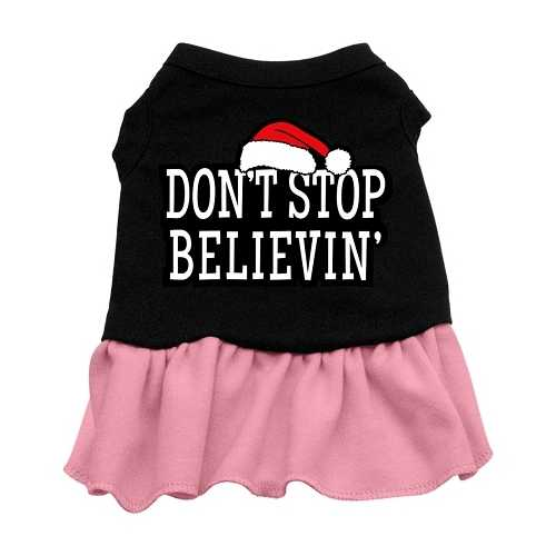 Don't Stop Believin' Screen Print Dress Black with Pink XL (16)