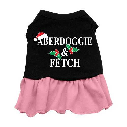Aberdoggie Christmas Screen Print Dress Black with Pink Lg (14)