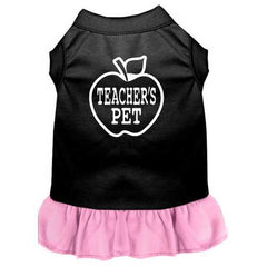 Teachers Pet Screen Print Dress Black with Light Pink Sm (10)