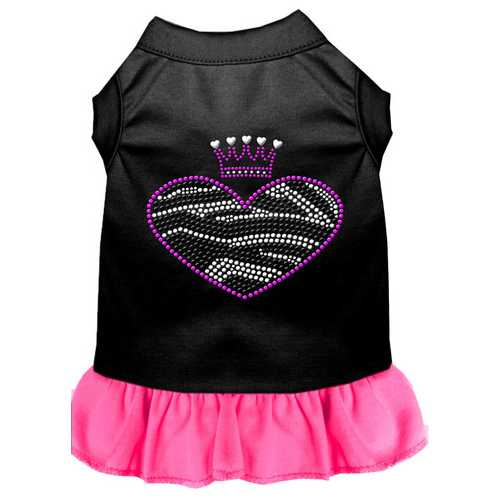 Zebra Heart Rhinestone Dress Black with Bright Pink Sm (10)