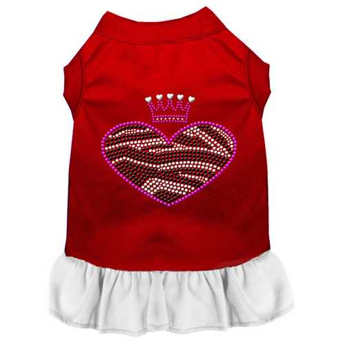 Zebra Heart Rhinestone Dress Red with White XL (16)