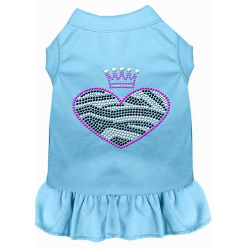Zebra Heart Rhinestone Dress Baby Blue XXL (18)