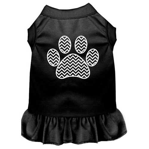 Chevron Paw Screen Print Dress Black XL (16)