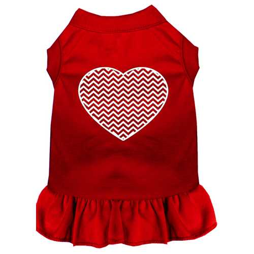 Chevron Heart Screen Print Dress Red XL (16)