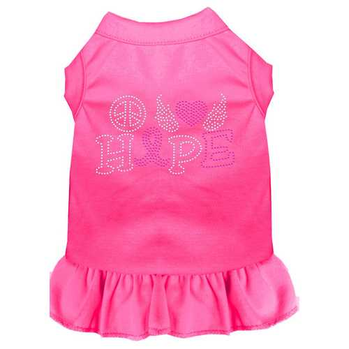 Peace Love Hope Breast Cancer Rhinestone Pet Dress Bright Pink XL (16)