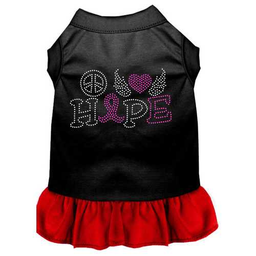 Peace Love Hope Breast Cancer Rhinestone Pet Dress Black with Red XL (16)