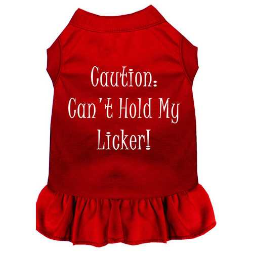 Can't Hold My Licker Screen Print Dress Red Sm (10)
