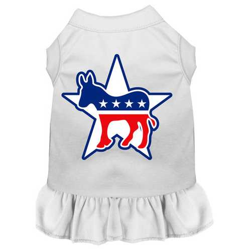 Democrat Screen Print Dress White XS (8)