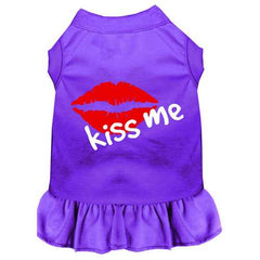 Kiss Me Screen Print Dress Purple Med (12)