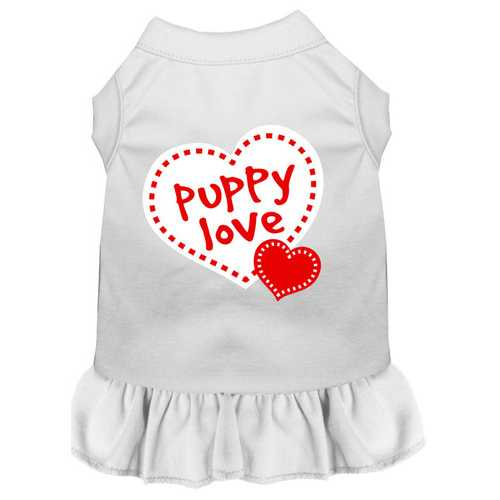 Puppy Love Screen Print Dress White Med (12)