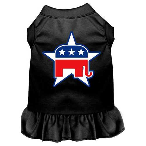 Republican Screen Print Dress Black Sm (10)