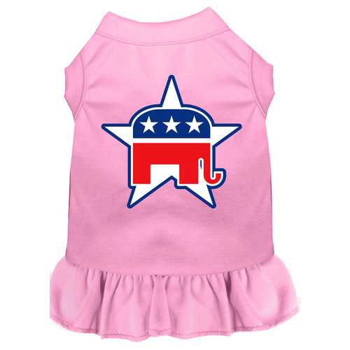 Republican Screen Print Dress Light Pink Sm (10)