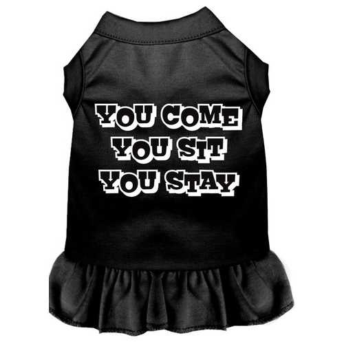 You Come, You Sit, You Stay Screen Print Dress Black Sm (10)