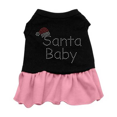 Santa Baby Rhinestone Dress Black with Pink Sm (10)