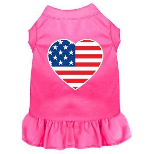 American Flag Heart Screen Print Dress Bright Pink Lg (14)