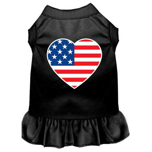 American Flag Heart Screen Print Dress Black XS (8)