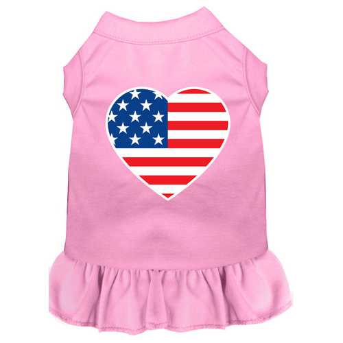 American Flag Heart Screen Print Dress Light Pink XXXL (20)