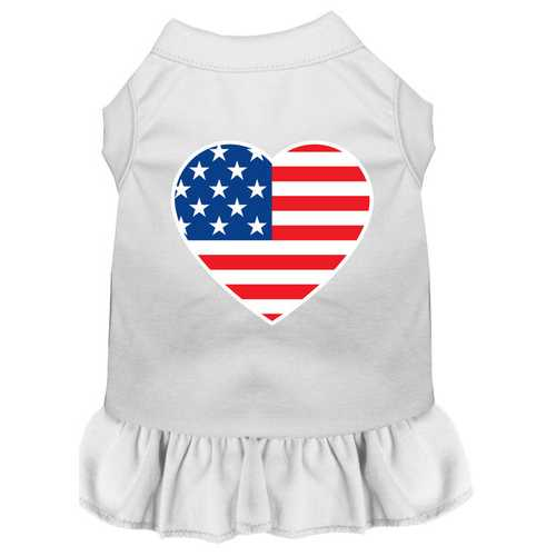 American Flag Heart Screen Print Dress White XXXL (20)