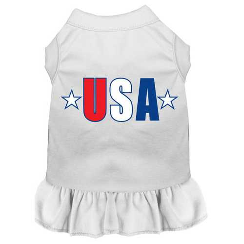 USA Star Screen Print Dress White Lg (14)