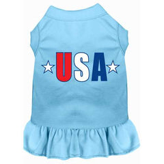 USA Star Screen Print Dress Baby Blue Sm (10)