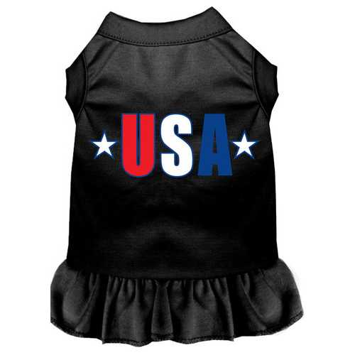 USA Star Screen Print Dress Black XXL (18)