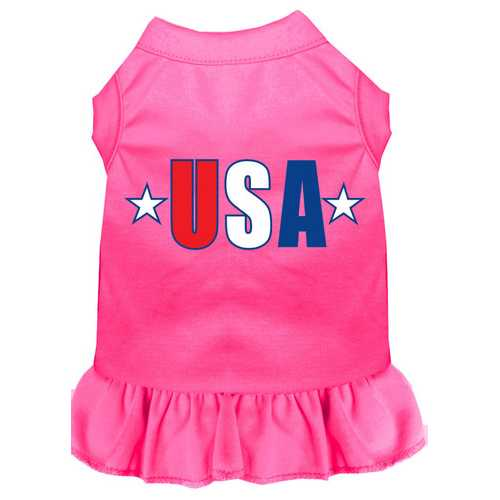 USA Star Screen Print Dress Bright Pink XXXL (20)