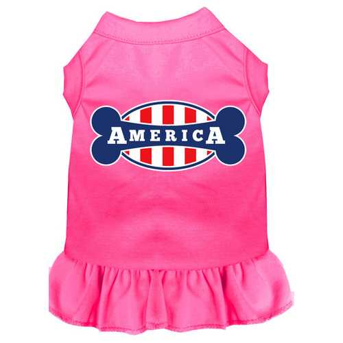 Bonely in America Screen Print Dress Bright Pink 4X (22)