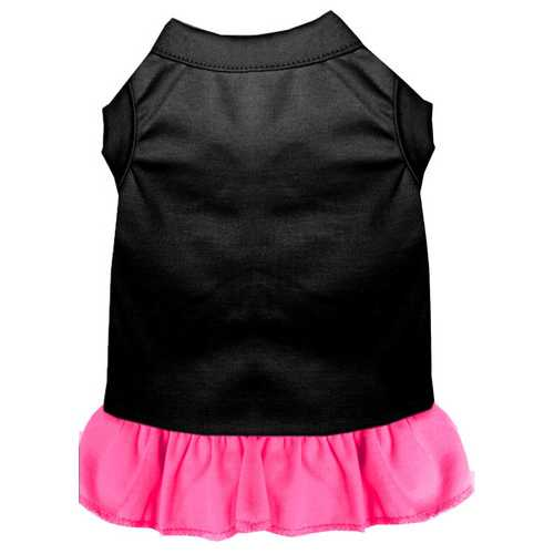 Plain Dress Black with Bright Pink Sm (10)