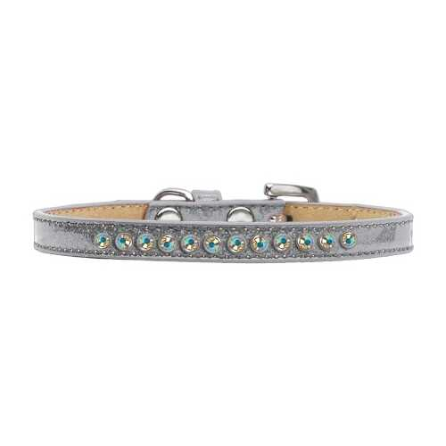 AB Crystal Size 12 Silver Puppy Ice Cream Collar