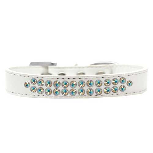 Two Row AB Crystal Size 12 White Dog Collar
