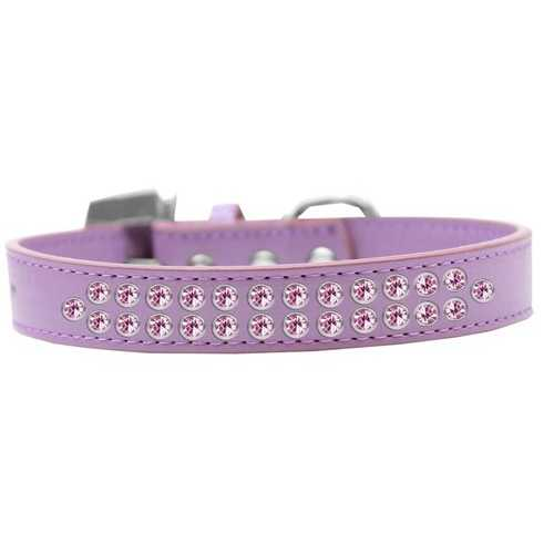 Two Row Light Pink Crystal Size 20 Lavender Dog Collar