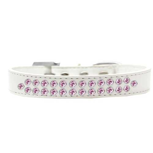 Two Row Light Pink Crystal Size 14 White Dog Collar
