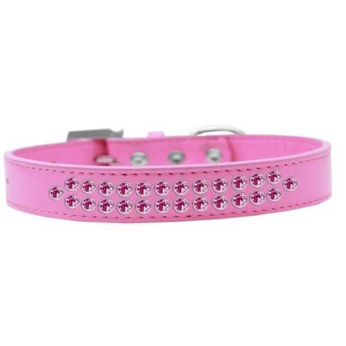 Two Row Bright Pink Crystal Size 14 Bright Pink Dog Collar