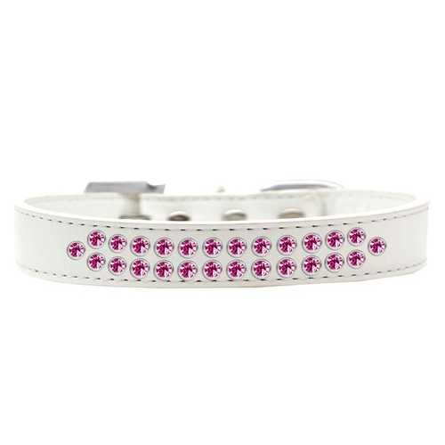 Two Row Bright Pink Crystal Size 20 White Dog Collar