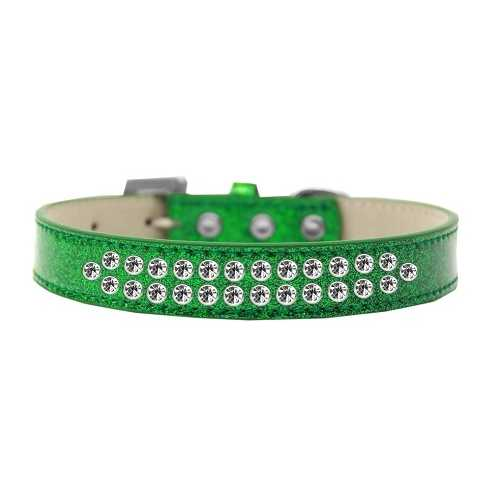 Two Row Clear Crystal Size 14 Emerald Green Ice Cream Dog Collar