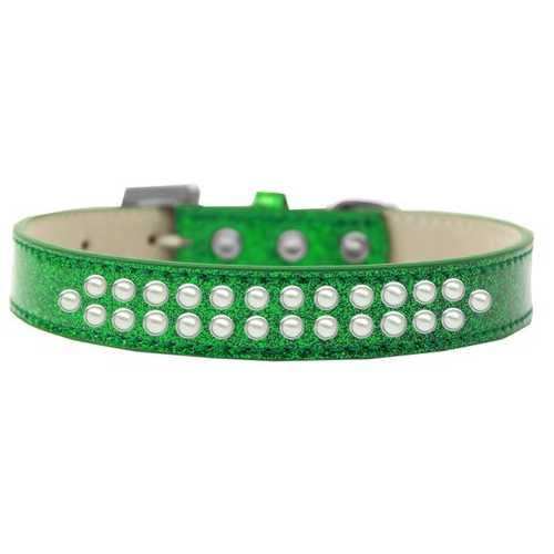 Two Row Pearl Size 20 Emerald Green Ice Cream Dog Collar