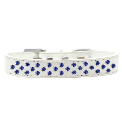 Sprinkles Dog Collar Blue Crystals Size 16 White