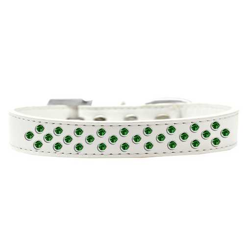 Sprinkles Dog Collar Emerald Green Crystals Size 14 White