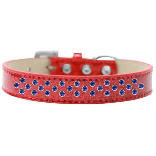 Sprinkles Ice Cream Dog Collar Blue Crystals Size 20 Red