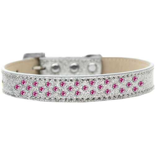 Sprinkles Ice Cream Dog Collar Bright Pink Crystals Size 12 Silver