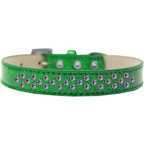 Sprinkles Ice Cream Dog Collar Purple Crystals Size 16 Emerald Green