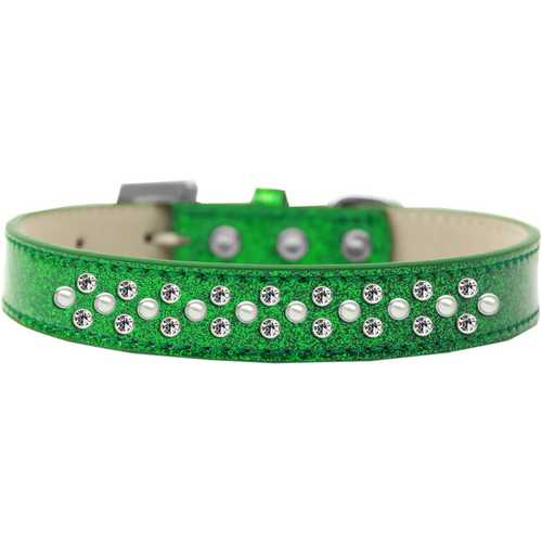Sprinkles Ice Cream Dog Collar Pearl and Clear Crystals Size 20 Emerald Green