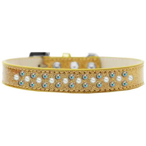Sprinkles Ice Cream Dog Collar Pearl and AB Crystals Size 12 Gold