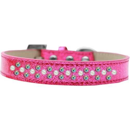 Sprinkles Ice Cream Dog Collar Pearl and AB Crystals Size 20 Pink