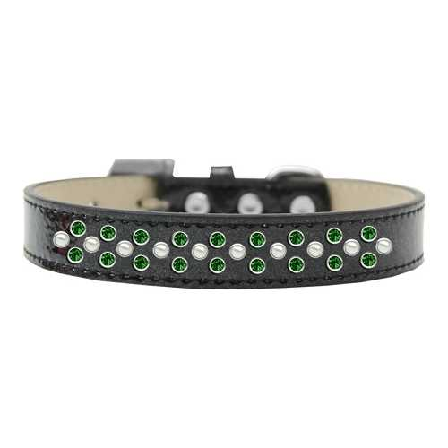 Sprinkles Ice Cream Dog Collar Pearl and Emerald Green Crystals Size 20 Black