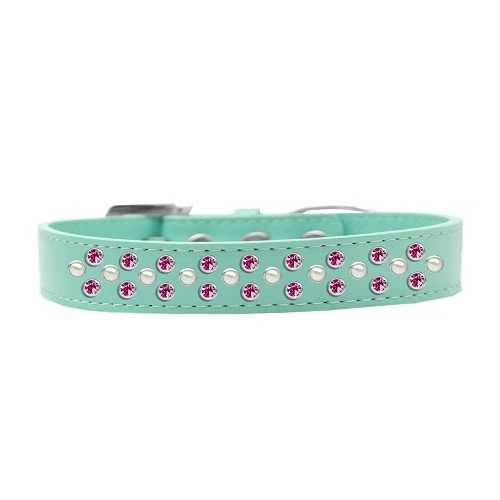 Sprinkles Dog Collar Pearl and Bright Pink Crystals Size 14 Aqua