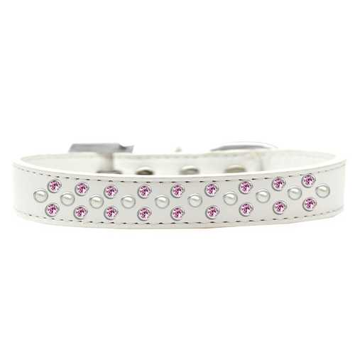 Sprinkles Dog Collar Pearl and Light Pink Crystals Size 14 White