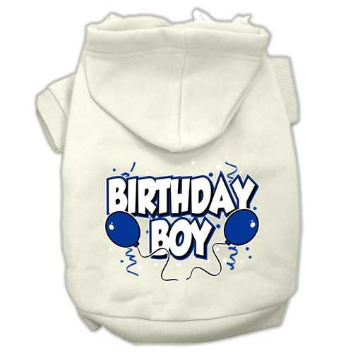 Birthday Boy Screen Print Pet Hoodies Cream Size Med (12)