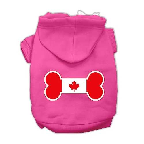 Bone Shaped Canadian Flag Screen Print Pet Hoodies Bright Pink XS (8)